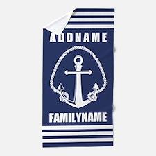 Nautical Rope and Anchor Monogram in N Beach Towel