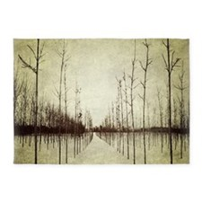 abstract landscape winter trees 5'x7'Area Rug