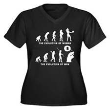 Beach Volley Women's Plus Size V-Neck Dark T-Shirt