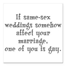 "Same Sex Weddings - Lg Square Car Magnet 3"" x 3"""