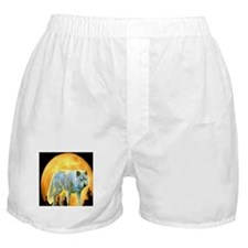 western forest moonlight wolf Boxer Shorts