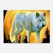 western forest moonlight wolf 5'x7'Area Rug
