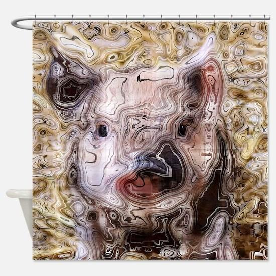 scribbled Piglet Shower Curtain