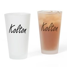 Kolton Artistic Name Design Drinking Glass