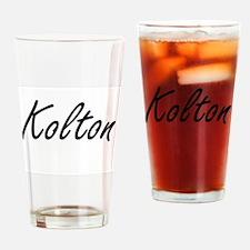 Kolton Artistic Name Design Drinking Glass