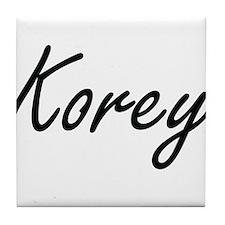 Korey Artistic Name Design Tile Coaster