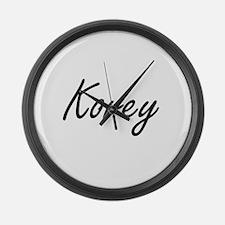 Korey Artistic Name Design Large Wall Clock