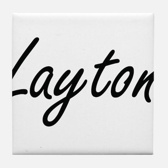 Layton Artistic Name Design Tile Coaster