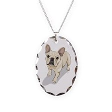 Cute French bulldog Necklace Oval Charm