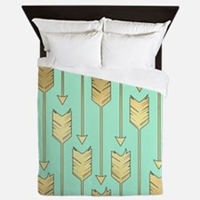 Boho Mint and Faux Gold Arrows Queen Duvet