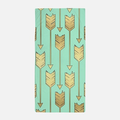 Boho Mint and Faux Gold Arrows Beach Towel