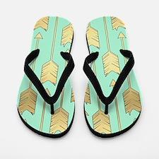 Boho Mint and Faux Gold Arrows Flip Flops