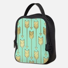 Boho Mint and Faux Gold Arrows Neoprene Lunch Bag