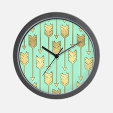 Boho Mint and Faux Gold Arrows Wall Clock