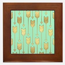 Boho Mint and Faux Gold Arrows Framed Tile