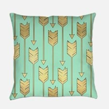 Boho Mint and Faux Gold Arrows Everyday Pillow