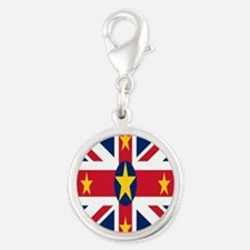 Flag Silver Round Charm