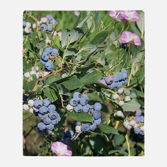 Blueberries and Morning Glories Throw Blanket