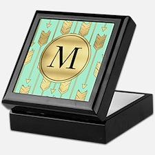 Boho Mint and Faux Gold Arrows Monogram Keepsake B