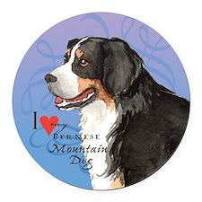 Bernese Mountain Dog Round Car Magnet