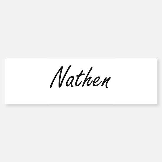 Nathen Artistic Name Design Bumper Car Car Sticker