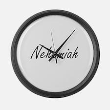 Nehemiah Artistic Name Design Large Wall Clock