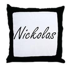 Nickolas Artistic Name Design Throw Pillow