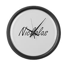 Nickolas Artistic Name Design Large Wall Clock
