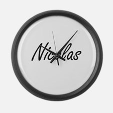 Nicolas Artistic Name Design Large Wall Clock