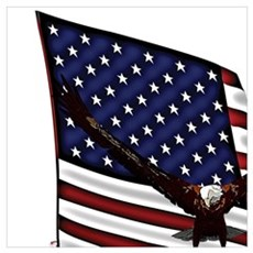 Patriotic USA Basketball with Eagle Poster