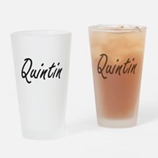 Quintin Artistic Name Design Drinking Glass