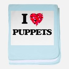 I Love Puppets baby blanket