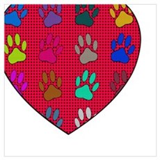 Dog Paws And Heart Shape Newsprint Poster