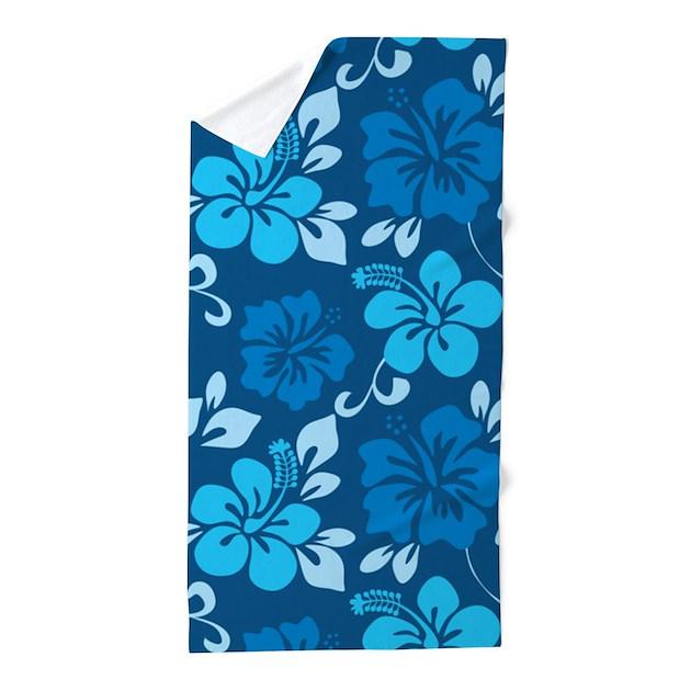 Hawaiian Beach Blanket: Shades Of Blue Hawaiian Hibiscus Beach Towel By Yneami