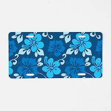 Shades of blue Hawaiian hib Aluminum License Plate