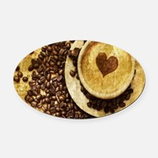 romantic modern coffee Oval Car Magnet