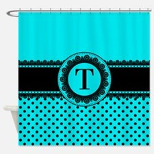 Turquoise Black Polka Dots Shower Curtain