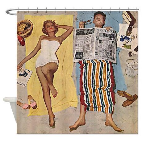 Vintage Retro Sunscreen Advert Shower Curtain