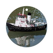 Model tugboat Round Ornament