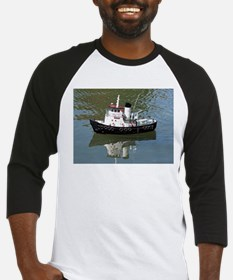 Model tugboat reflections in water Baseball Jersey