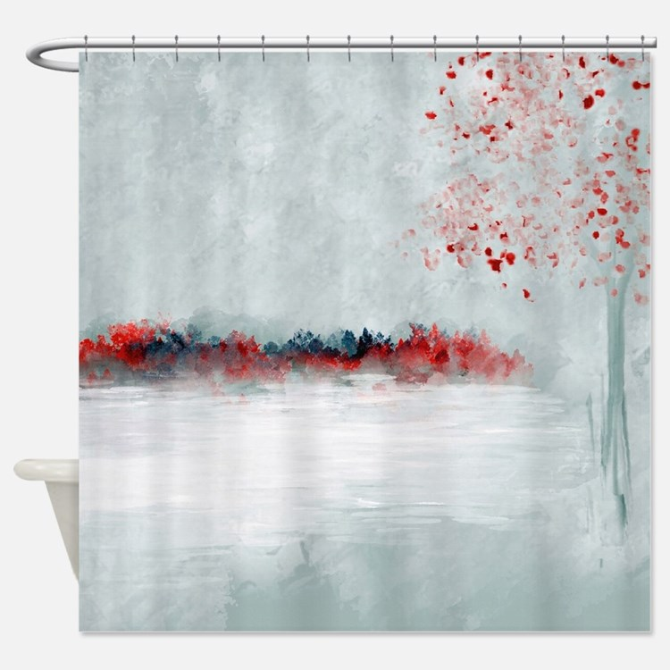 Red and gray shower curtains red and gray fabric shower for Red show curtains