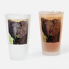 BABY ELEPHANT , LOVE Drinking Glass