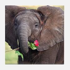 BABY ELEPHANT , LOVE Tile Coaster