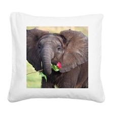 BABY ELEPHANT , LOVE Square Canvas Pillow