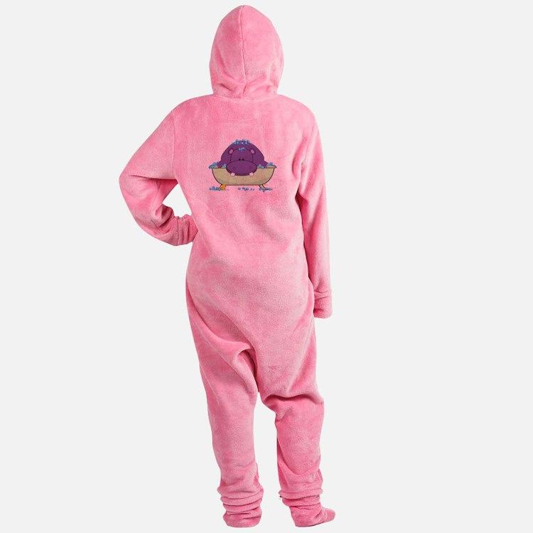 Bathing Purple Hippo Footed Pajamas