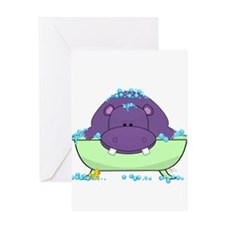 Bathing Purple Hippo Greeting Cards