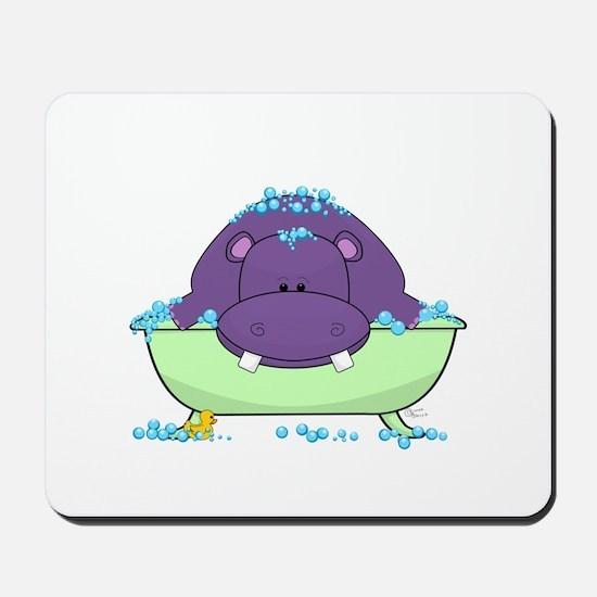 Bathing Purple Hippo Mousepad