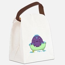 Bathing Purple Hippo Canvas Lunch Bag