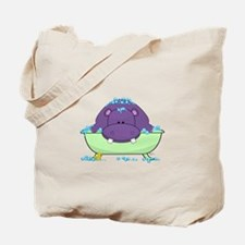 Bathing Purple Hippo Tote Bag
