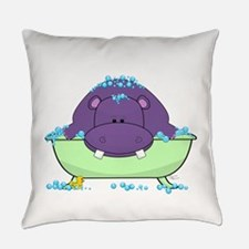 Bathing Purple Hippo Everyday Pillow